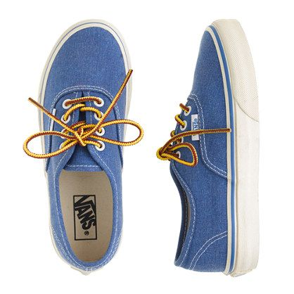 """J.Crew - Boys' Vans® for crewcuts washed sneakers- could be fun to have the four """"smaller boys"""" wearing these with chinos or pant/vest combo"""