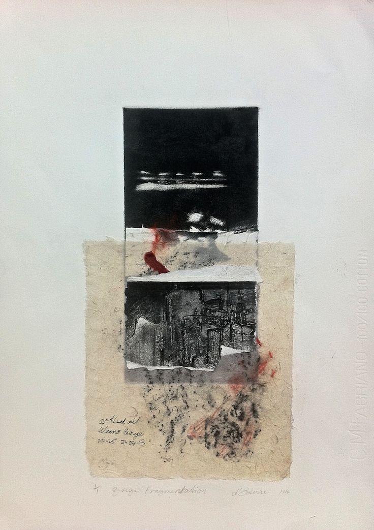 ELAINE d'ESTERRE - Gorge Fragmentation, 1/1, 2015, intaglio, frottage and collage by Elaine d'Esterre at elainedesterreart.com and http://www.facebook.com/elainedesterreart/ and AVAILABLE at http://original-artwork/myshopify.com/collections/all