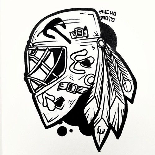 Go Hawks Chicago Blackhawks Goalie Helmet Mucho Moto