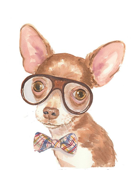 Chihuahua Watercolor 11x14 PRINT  Dog by WaterInMyPaint on Etsy, $32.00