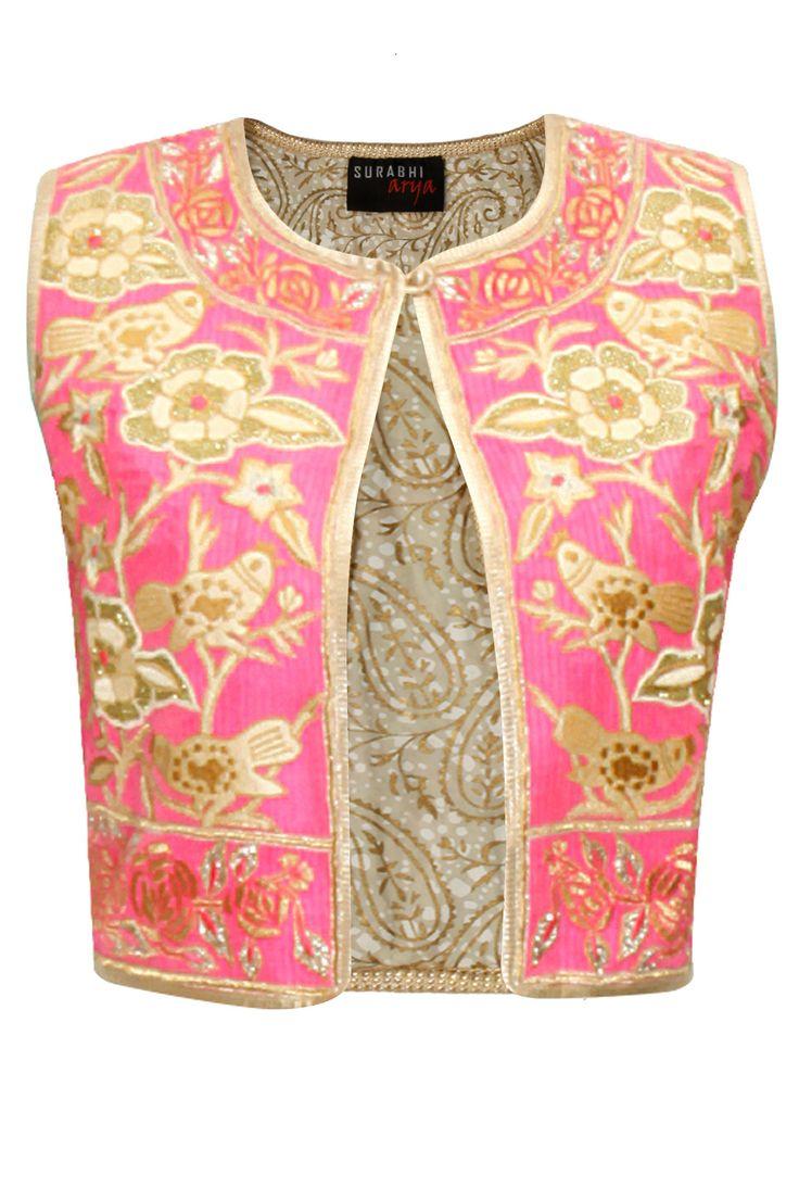 Pink and beige thread embroidered jacket by Surabhi Arya. Shop at: http://www.perniaspopupshop.com/designers/surabhi-arya #jacket #surabhiarya #shopnow #perniaspopupshop