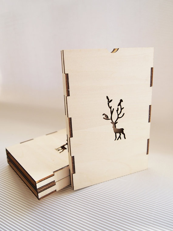 laser cut wood box template - christmas card lasercut packaged in plywood case