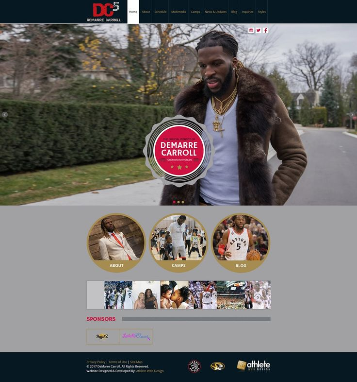 Custom website design / branding project for Demarre Carroll - NBA basketball player, DemarreCarroll.com.  Check out more sports web design ideas at: http://www.athletewebdesign.com.