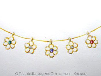 Collier or fleurs, émeraude, saphir, rubis et diamants.