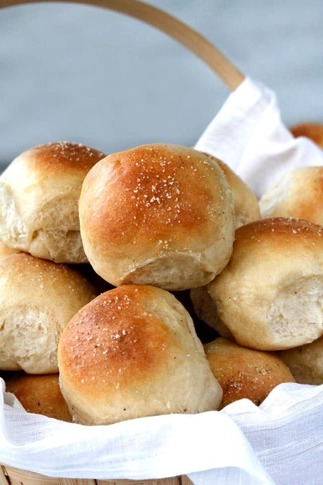 Dinner Roll Recipe with no hand kneading!  Soft and fluffy, double brushed with butter and topped with garlic salt for the best Dinner Rolls ever! This Dinner Roll Recipe will be the only dinner rolls you will ever want to make.  or eat.