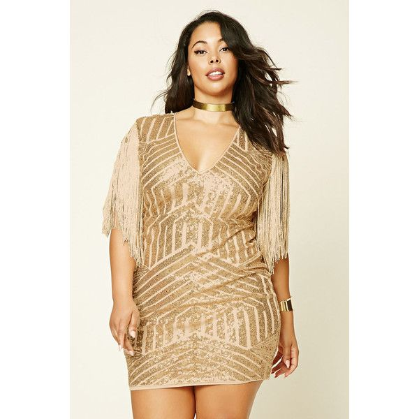 Forever21 Plus Size Sequin Fringe Dress (1,615 DOP) ❤ liked on Polyvore featuring plus size women's fashion, plus size clothing, plus size dresses, gold, long sequin dress, long cocktail dresses, beige cocktail dress and cap sleeve cocktail dress