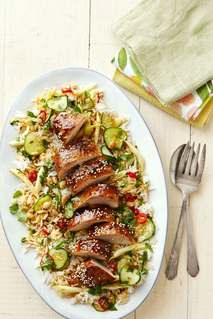 Hoisin-Glazed Pork Tenderloin with Asian Rice Salad  - CountryLiving.com