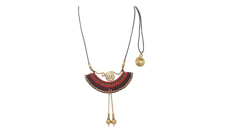 Beautiful weaved waxed cords and twisted brass necklace