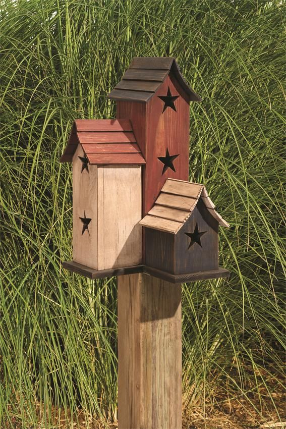 Amish Wooden Primitive Painted Trio Birdhouse | Amish Bird Houses | Amish Made Bird Supplies 2297