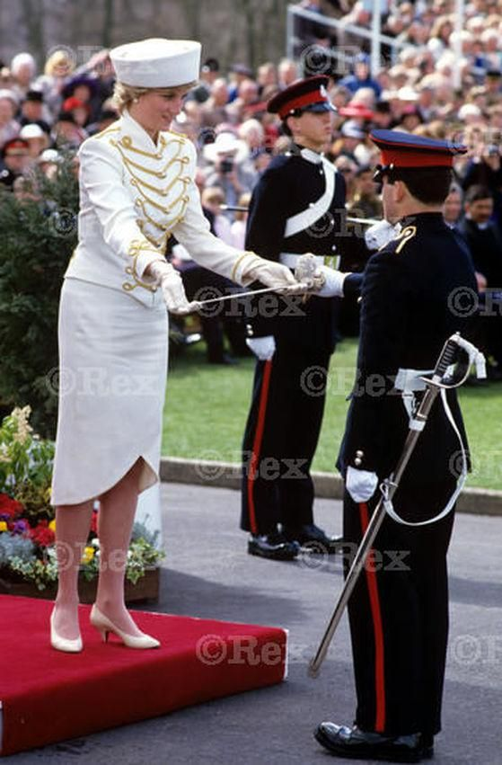 April 10 1987 Diana, standing in for the Queen, took the Salute at the Sovereign's Parade at the Military Academy, Sandhurst, Camberley, Surrey