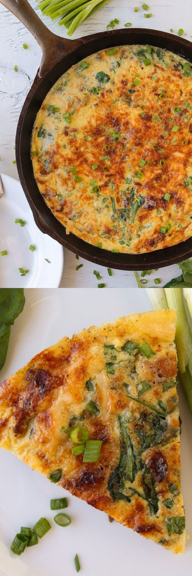Bacon, Gouda, & Spinach Frittata _ Cooked in a Cast Iron Skillet. I added a bunch of bacon & gouda cheese to mine because that's what sounded good to me!