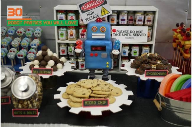 This could be the most insane blog post I have ever done. Actually, I know it is. From robot dessert tables to robot favors to robot cakes and cupcakes, it's a round-up of 30 of some of the best robot party ideas and supplies online. Sit back, grab some robot fuel and enjoy. What makes this...