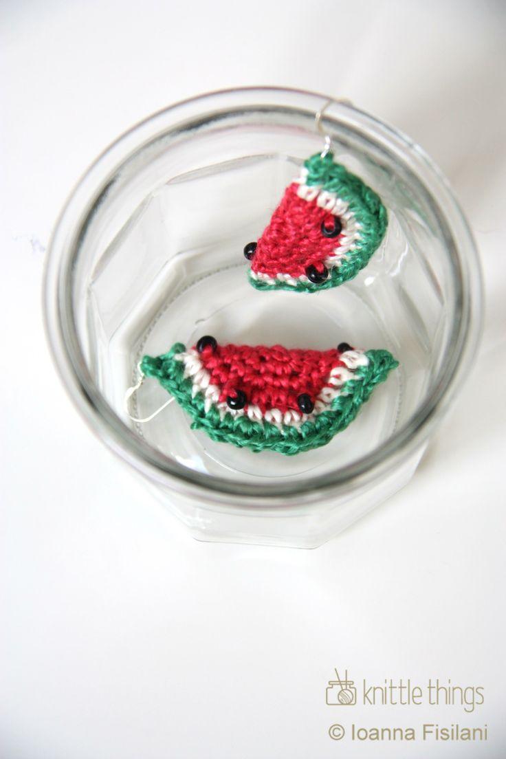 Knittle Things watermelon crochet earrings | linen