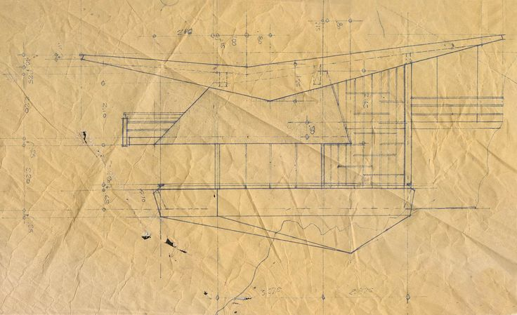 Fernandini House.  West elevation. Job site copy of the construction drawing. Weberhofer Archives
