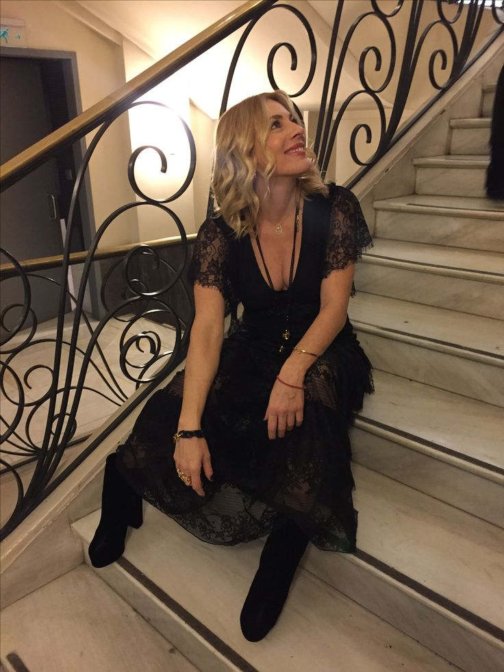 """Smaragda Karidi relaxing just before her movie premiere """"True Strangers"""" with a maxi laced dress made especially by us for the  particular event!"""