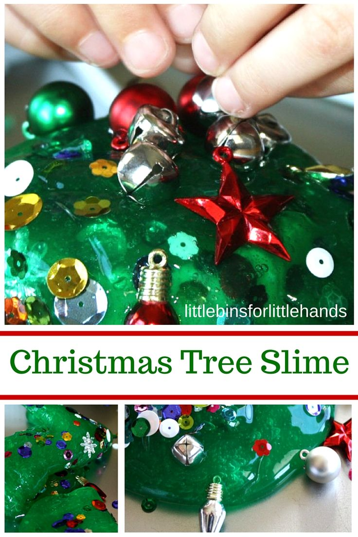 Christmas Tree Homemade Slime. Easy liquid starch slime recipe. Christmas science and sensory play activity.