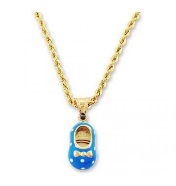 Bucik niebieski z łańcuszkiem złoto #BiżuteriaDziecięca #PrezentNaChrzest