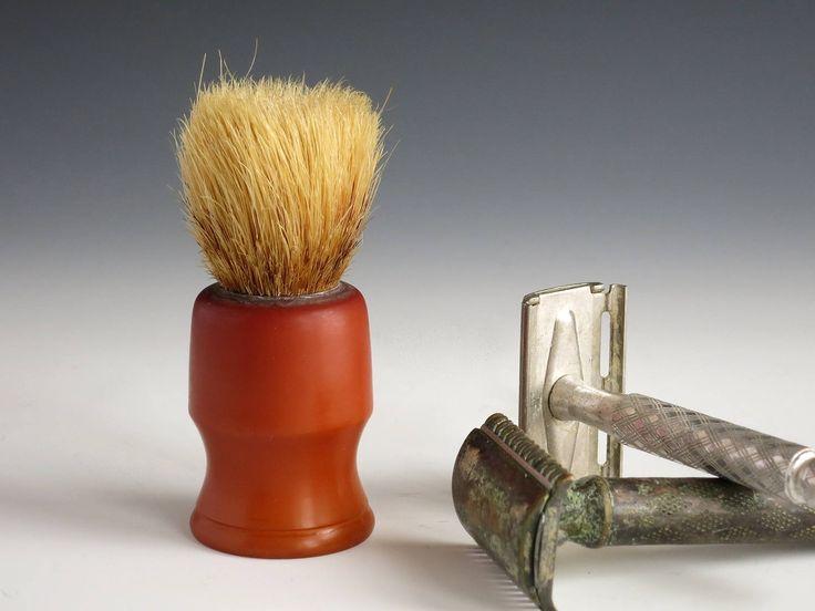 Bakelite Shaving Brush - Bakelite Men's Shaving Accessories - Barber's Bristle Shaving Brush - Vintage Caramel Bakelite Shaving Brush by EightMileVintage on Etsy