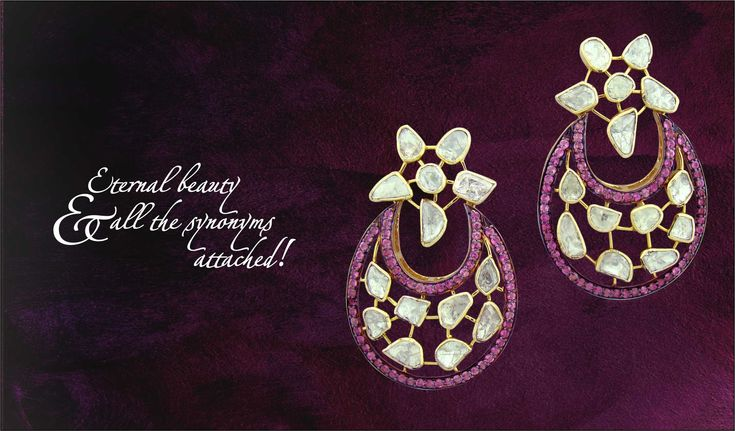 Beautiful earrings in floral pattern with attractive shape and brilliance. #Diamonds #Jewelry #Jaipur