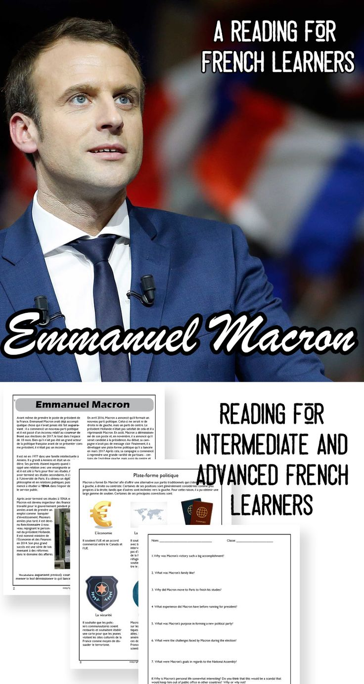 This reading for intermediate and advanced French learners will answer  these questions as well as allow students to learn about the campaign  platform and French election system.  It includes a 2-page reading,  comprehension questions in French and English, an infographic about the  issues in the election, answer key and links to related videos and  websites.