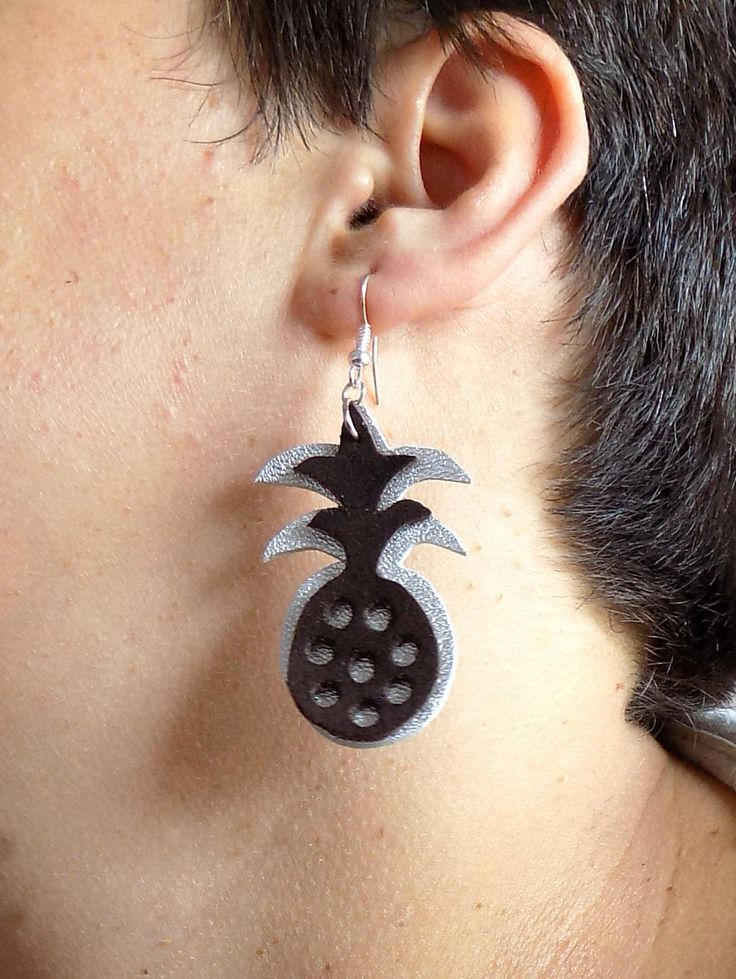 Pineapple earrings, handmade out of natural leather, original jewelry, fruit earrings, perfect gift for her, disco from Transylvania by TransylvanianTrove on Etsy