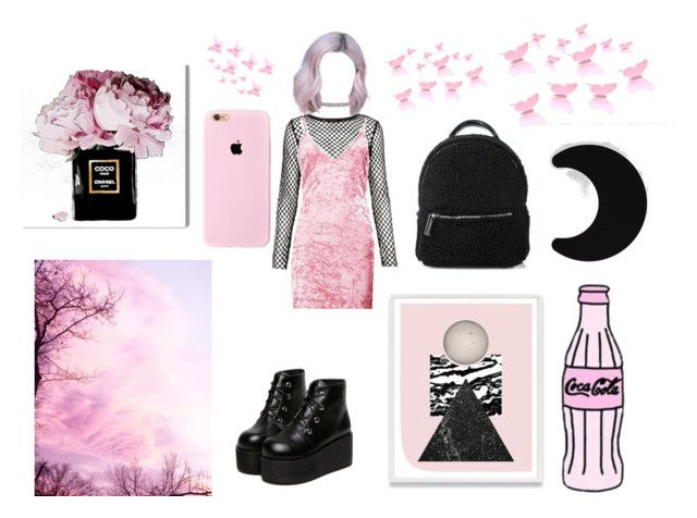 Malicious Pink by tb-mcr on Polyvore featuring moda, Boohoo, Motel, Skinnydip, Topshop, Danese and Oliver Gal Artist Co.