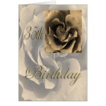 Sepia Rose Happy 35th Birthday Card