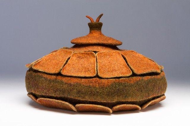 Acorn Vessel by Shelley Jones, hand felted wool
