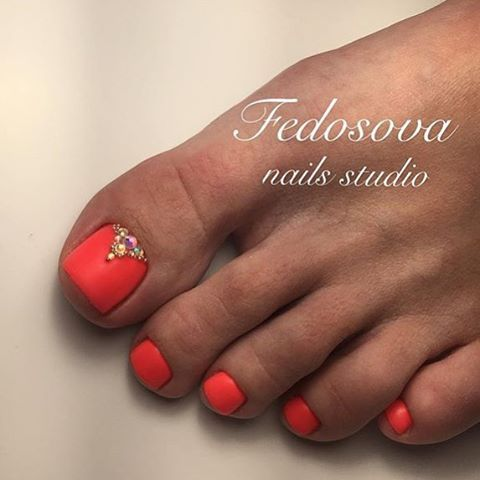Matt Coral Toe Nail Art