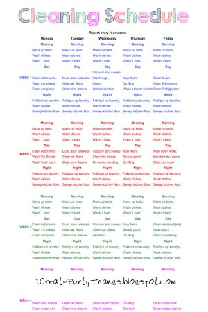 A Rotating Cleaning Schedule Click Through For A