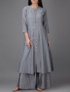 Buy Grey Button down Chanderi Kurta Shell: Lining: Cotton Women Kurtas Online at Jaypore.com
