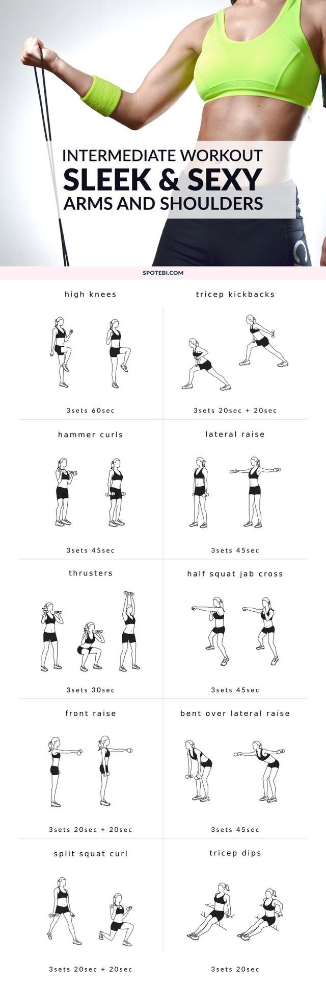 Get sleek arms and sexy shoulders with this dumbbell workout routine for women. A set of 10 upper body exercises perfect for strengthening the muscles and start sculpting your torso.