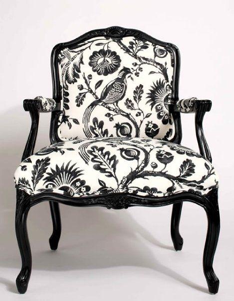 #Classic black + white custom chair. Bergere Chair in Durham Black/ White. Image: Calicocorners.com