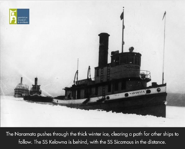 Tug Boat Naramata breaks ice on Okanagan Lake, making a path for the Tug Kelowna and the Stern Wheeler SS Sicamous behind. Photo from the Penticton Museum and Archives.