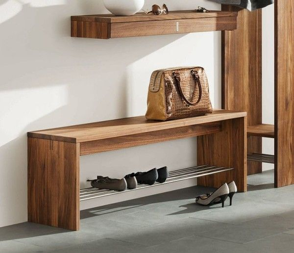 Entrance Coat Rack Bench With Shoe Storage Shelving From Stainless Steel Tubing Below Hermes Brown Crocodile Bag Beside Off White Paint Color Also Entryway