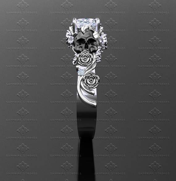Anillo de compromiso de cráneo de San Ivy rosa/negro/oro