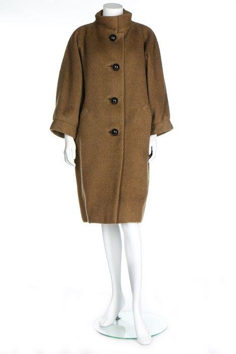 A Balenciaga couture brown mohair coat, circa 1960.