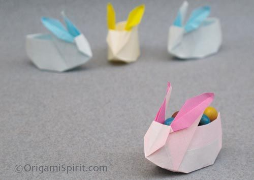 Origami box in the shape of a rabbit