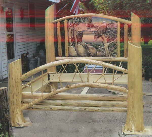 Carved Log Cedar Bed With Eagle U0026 Bear   Woodland Creek Furniture