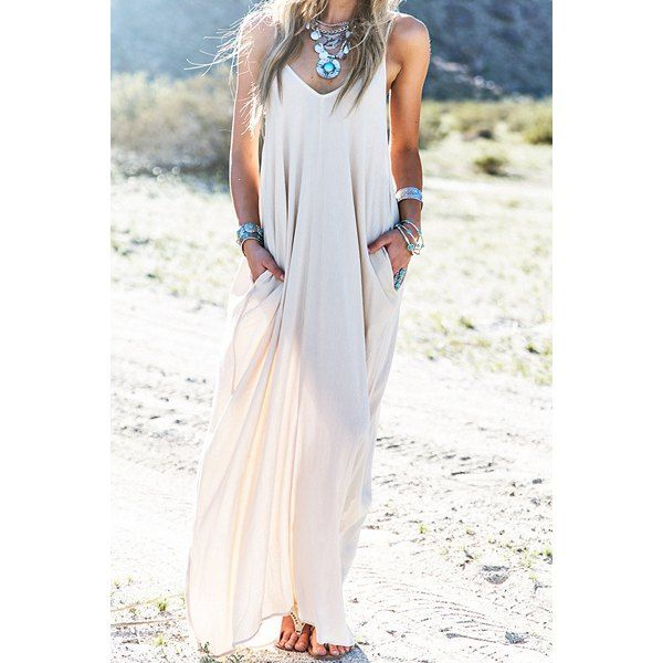 Wholesale Sexy Spaghetti Strap Solid Color Pockets Maxi Dress For Women Only $6.81 Drop Shipping | TrendsGal.com