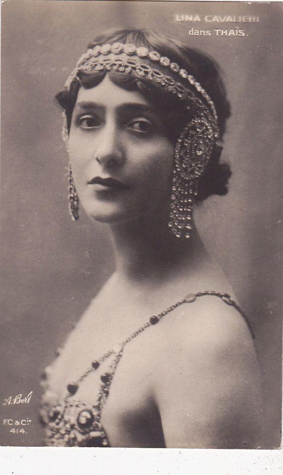 Italian Opera Soprano & Actress Lina Cavalieri with Nouveau Headdress in Thais