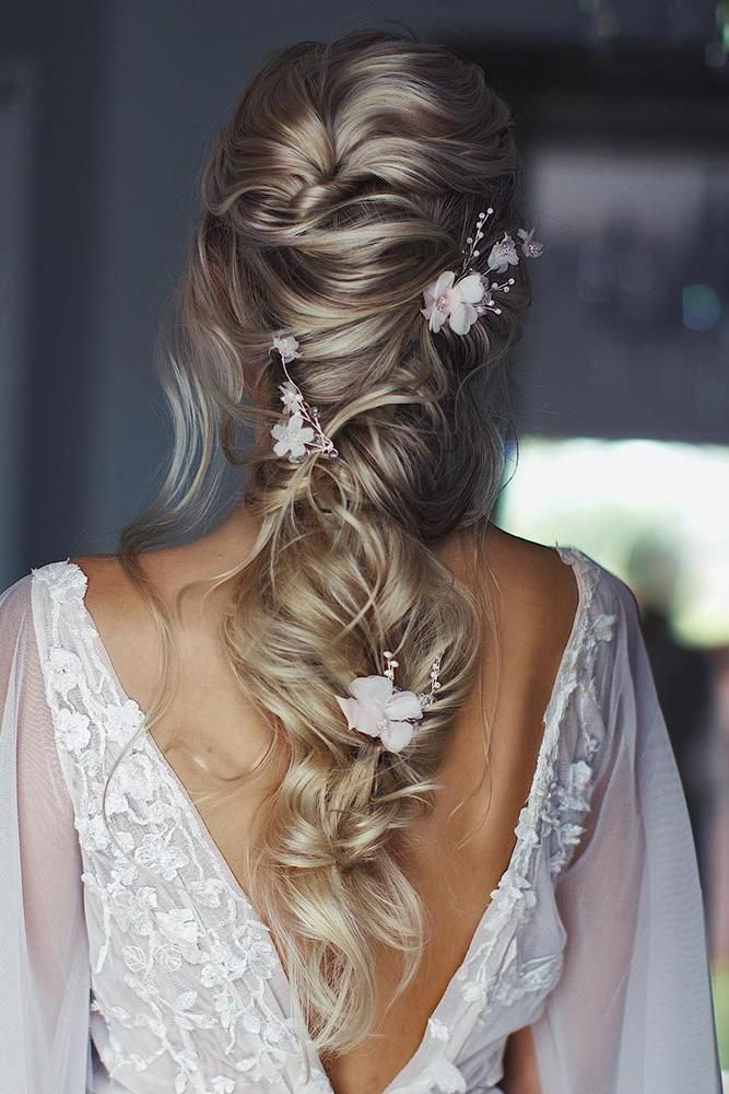 45 Summer Wedding Hairstyles Ideas ❤ summer wedding hairstyles cascading half up half down on blonde hair with white flowers ulyana.aster #weddingfo...