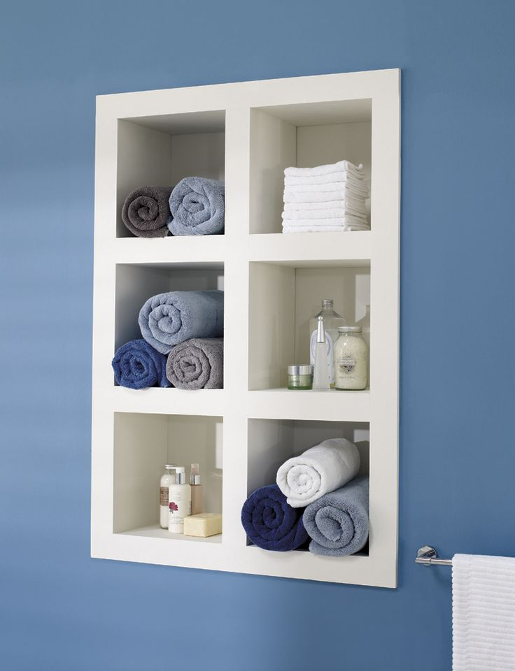 This recessed shelving unit with compartments will provide you with much needed #storage space in the #bathroom.
