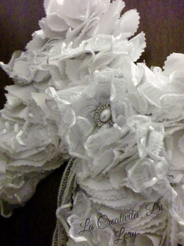 Pensando  al  Natale  Le Ali  una  nuvola  di  pizzi  e stoffa  idea  come  fuori  porta  o  sopra testiera del  letto