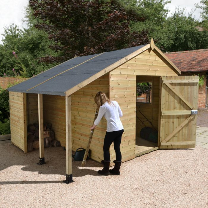 10 X 6 Shed Republic Ultimate Heavy Duty Shed With Logstore Single Door 3 02m X 1 82m In 2020 Wooden Sheds Building A Shed Shed