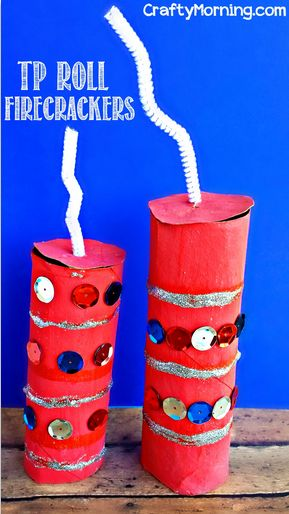 Toilet Paper Roll Firecracker Craft for Kids - Easy 4th of July craft / Memorial Day art project! | CraftyMorning.com