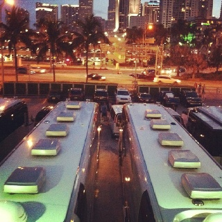 Jimmy Buffett's tour buses in Miami