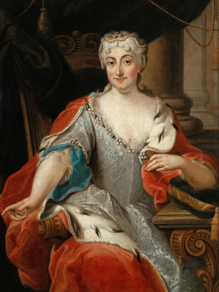 Portrait of Maria Clementina Sobieska, titular Queen of England, Scotland and Ireland by  Pier Leone Ghezzi, ca. 1735 (PD-art/old), Muzeum Pałacu Króla Jana III w Wilanowie