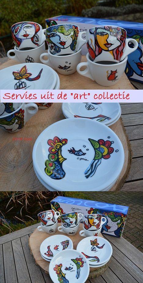 Servies serie beschilderd door een bekende kunstenaar Josien Broeren. #servies #kunt #art #dinnerware #tableware