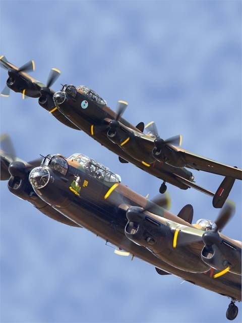 X 2 Lancaster bombers flying together. Something not seen in a long time.